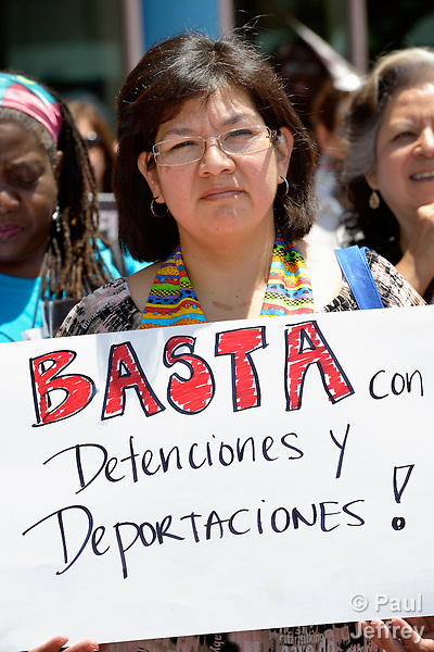 "United Methodist Women from around the world participate in an April 28 rally against private prisons held at the 2012 United Methodist General Conference in Tampa, Florida. The rally was sponsored by United Methodist Women and the United Methodist Task Force on Immigration. Here Maria Leticia, a member of El Divino Redentor UMC in McAllen, Texas, holds a sign saying ""Enough of detentions and deportations!"""