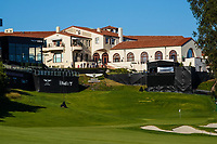 A general view of the 18th green during previews of the The Genesis Invitational, Riviera Country Club, Pacific Palisades, Los Angeles, USA. 10/02/2020<br /> Picture: Golffile | Phil Inglis<br /> <br /> <br /> All photo usage must carry mandatory copyright credit (© Golffile | Phil Inglis)
