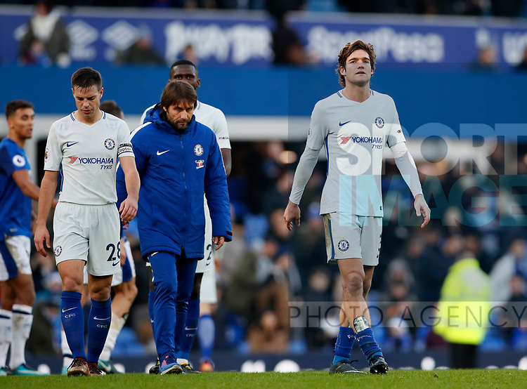 Chelsea's Marcos Alonso looks on dejected at the final whistle during the premier league match at Goodison Park Stadium, Liverpool. Picture date 23nd December 2017. Picture credit should read: David Klein/Sportimage