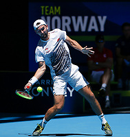 5th January 2020; RAC Arena, Perth, Western Australia; ATP Cup Australia, Perth, Day 3; Italy versus Norway; Viktor Durasovic of Norway plays a forehand shot from the baseline against Stefano Travaglia of Italy - Editorial Use
