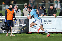 Jordan Burns of Bedford Blues breaks free to score a try during the Greene King IPA Championship match between London Scottish Football Club and Bedford Blues at Richmond Athletic Ground, Richmond, United Kingdom on 25 March 2017. Photo by David Horn / PRiME Media Images.