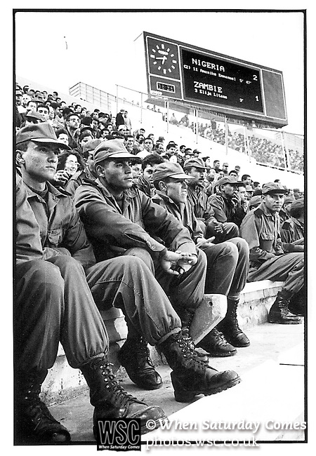 Nigeria 2 Zambia 1, 10/04/1994. Stade El Menzah, Tunis. African Cup of Nations final 1994, Tunisia.<br /> Nigeria winners. Tunisian army at the final. Photo by Tony Davis