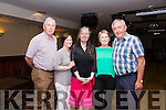 Mary Cournane Manager of the Cahersiveen Social Services CE Scheme centre   at her retirement party in the Kerry Coast Hotel on Friday night pictured here with l-rl Martin Mitchell(Department of Social Protection), Joanne McDonnell(DSP), Mary Cournane, Creda McElligott(DSP) & Paul O'Donoghue(Cahersiveen Social Services).