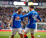 24.11.2018 Rangers v Livingston: Daniel Candeias celebrates his opening goal for Rangers with Glenn Middleton