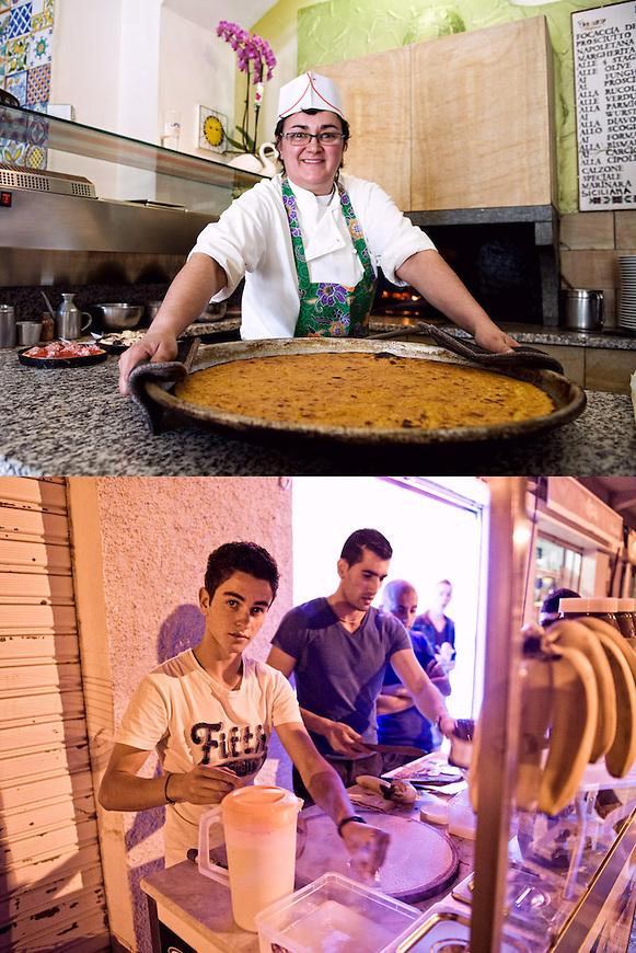 SGUARDI ORGOGLIOSI<br /> La farinata di Daniela Angheluta della pizzeria Il Cavaliere<br /> Le crepes di Adam Graine<br /> <br /> Farinata del sole, sole in farinata<br /> sorride la pizzaiola tutta inamidata<br /> orgogliosa<br /> delle teglia e di s&eacute;.<br /> L&rsquo;orchidea, <br /> smessa la sicumera<br /> s&rsquo;inchina alla cucina,<br /> si piega <br /> e se ne sta lass&ugrave;<br /> in un angolino.<br /> <br /> Guarda in macchina<br /> l&rsquo;adolescente di bellezza rara.<br /> Rifinisce il lavoro<br /> mentre frigge di vita<br /> da arrivare.