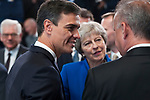 Belgium, Brussels - July 11, 2018 -- NATO summit, meeting of Heads of State / Government; here, Pedro SÁNCHEZ (Sanchez) (le), Prime Minister of Spain, Theresa MAY (ce), Prime Minister of the United Kingdom, and N.N. -- Photo © HorstWagner.eu