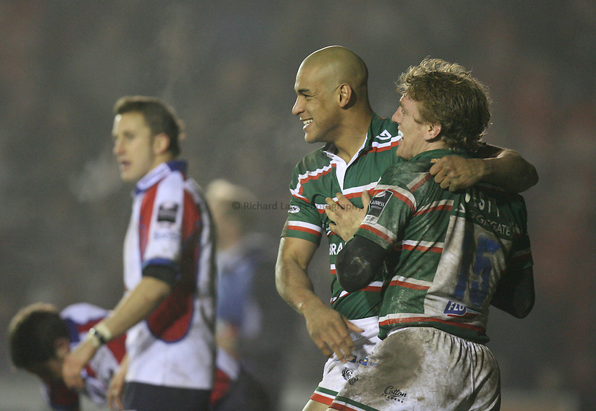 Photo: Rich Eaton...Leicester Tigers v Bristol Rugby. Guinness Premiership. 22/12/2006. Sam Varndell left of Leicester celebrates his try with Sam Vesty