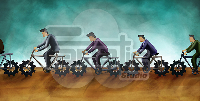 Illustrative image of business people riding cycles representing teamwork