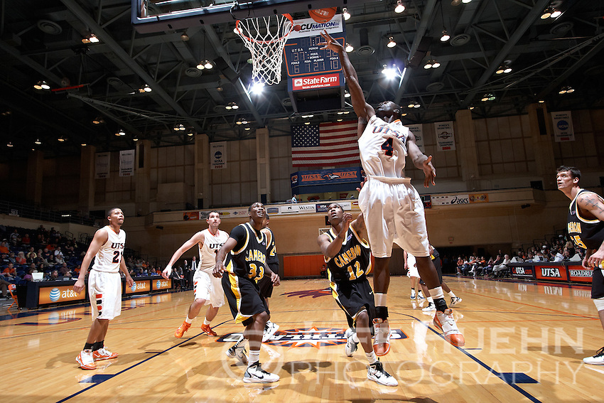 SAN ANTONIO, TX - NOVEMBER 19, 2010: The Cameron University Aggies vs. the University of Texas at San Antonio Roadrunners Men's Basketball at the UTSA Convocation Center. (Photo by Jeff Huehn)