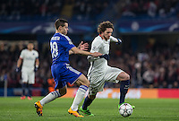 Adrien Rabiot of Paris Saint-Germain & Cesar Azpilicueta of Chelsea in action during the UEFA Champions League Round of 16 2nd leg match between Chelsea and PSG at Stamford Bridge, London, England on 9 March 2016. Photo by Andy Rowland.