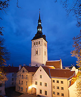 St. Nicholas church at night, Tallinn, Estonia