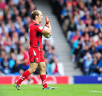 Wales's Lee Williams celebrates scoring his sides third try <br /> <br /> Kenya Vs Wales - men's placing 5-8 match<br /> <br /> Photographer Chris Vaughan/CameraSport<br /> <br /> 20th Commonwealth Games - Day 4 - Sunday 27th July 2014 - Rugby Sevens - Ibrox Stadium - Glasgow - UK<br /> <br /> © CameraSport - 43 Linden Ave. Countesthorpe. Leicester. England. LE8 5PG - Tel: +44 (0) 116 277 4147 - admin@camerasport.com - www.camerasport.com
