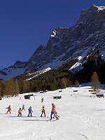 Austria, Tyrol, Ehrwald: ski run with Zugspitze mountain