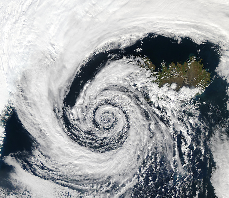 Satellite View a storm over Iceland. Elements of this image furnished by Nasa.