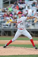 Luke Lanphere (25) of the Spokane Indians pitches during a game against the Everett AquaSox at Everett Memorial Stadium on July 25, 2015 in Everett, Washington. Spokane defeated Everett, 10-1. (Larry Goren/Four Seam Images)