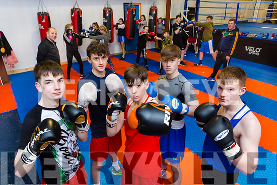 Paul Browne, Barry O'Connor, Liam Walsh, Paddy Walsh and Jordan Coffey and the boxers and trainers of Sliabh Luachra Boxing club in their new clubhouse in Castleisland