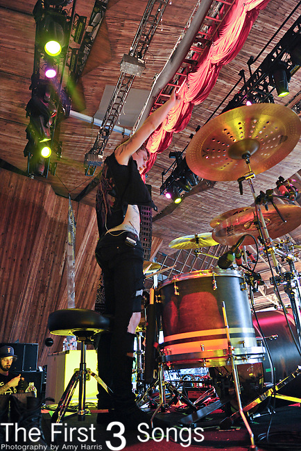 James Cassells of Asking Alexandria performs at the 2012 Rockstar Energy Drink Mayhem Festival at Blossom Music Center in Cleveland, Ohio.