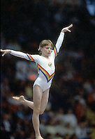 Daniela Silivas of Romania performs on balance beam at 1985 World Championships in women's artistic gymnastics at Montreal, Canada in mid-November, 1985.  Photo by Tom Theobald.