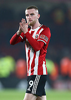 24th November 2019; Bramall Lane, Sheffield, Yorkshire, England; English Premier League Football, Sheffield United versus Manchester United; Oliver McBurnie of Sheffield United claps the fans at the end of the game - Strictly Editorial Use Only. No use with unauthorized audio, video, data, fixture lists, club/league logos or 'live' services. Online in-match use limited to 120 images, no video emulation. No use in betting, games or single club/league/player publications