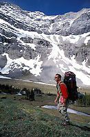 CANADA, ALBERTA, KANANASKIS, MAY 2002. A hiker near Paradise pass. The Kananaskis Country provincial park is home to Canada's most beautiful nature and wildlife. It has also escaped the mass tourism as in Banff National Park. Photo by Frits Meyst/Adventure4ever.com