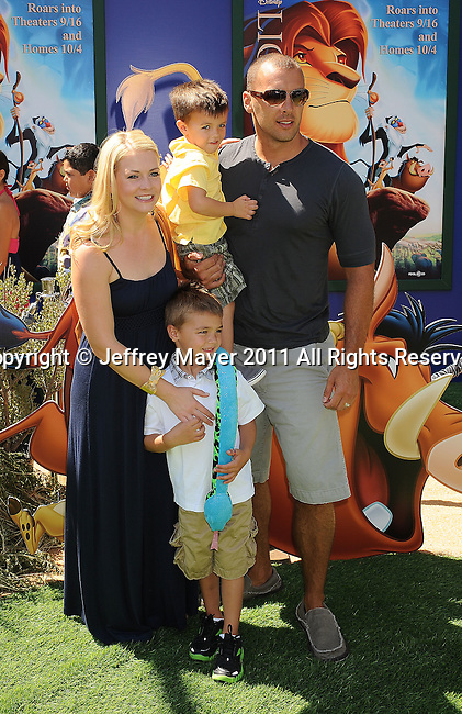 "HOLLYWOOD, CA - AUGUST 27: Melissa Joan Hart and family arrive at ""The Lion King"" Los Angeles 3D Premiere at the El Capitan Theatre on August 27, 2011 in Hollywood, California."