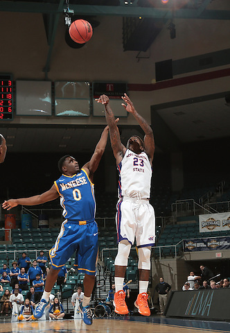 KATY TX, MARCH 12: Men Northwestern #4 v McNeese at the Southland Conference Basketball Championship at the Merrell Center in Katy on March 12, 2015 in Katy, Texas. (Photo Rick Yeatts)