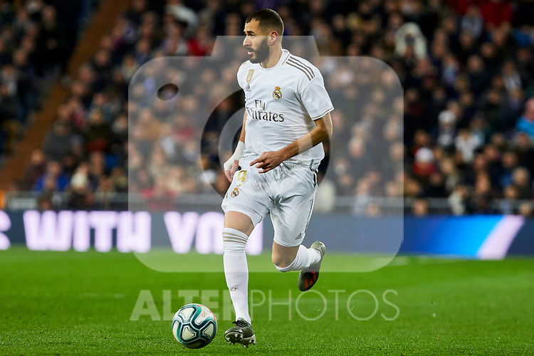 Karim Benzema of Real Madrid during La Liga match between Real Madrid and Real Sociedad at Santiago Bernabeu Stadium in Madrid, Spain. November 23, 2019. (ALTERPHOTOS/A. Perez Meca)