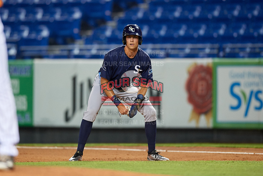 Charlotte Stone Crabs designated hitter Josh Lowe (28) leads off first base the second game of a doubleheader against the St. Lucie Mets on April 24, 2018 at First Data Field in Port St. Lucie, Florida.  St. Lucie defeated Charlotte 5-3.  (Mike Janes/Four Seam Images)