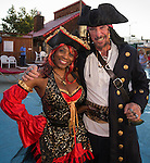 Angelique Odom from Seattle and Bryce AKA Captain Deuce Bigelow from Bishop during the Pirate Crawl held in downtown Reno on Saturday night, August 13, 2016.