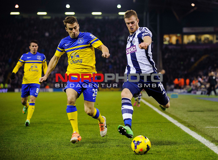 West Brom Midfielder Chris Brunt is challenged by Everton Defender Seamus Coleman (IRL) -  - 20/01/2014 - SPORT - FOOTBALL - The Hawthorns Stadium - West Bromwich Albion v Everton - Barclays Premier League.<br /> Foto nph / Meredith<br /> <br /> ***** OUT OF UK *****