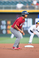 Nick Williams (4) of the Lehigh Valley Iron Pigs takes his lead off of second base against the Charlotte Knights at BB&T BallPark on June 3, 2016 in Charlotte, North Carolina.  The Iron Pigs defeated the Knights 6-4.  (Brian Westerholt/Four Seam Images)