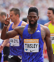 Michael TINSLEY of USA wins the 400m Hurdles during the Sainsbury's Anniversary Games, Athletics event at the Olympic Park, London, England on 25 July 2015. Photo by Andy Rowland.
