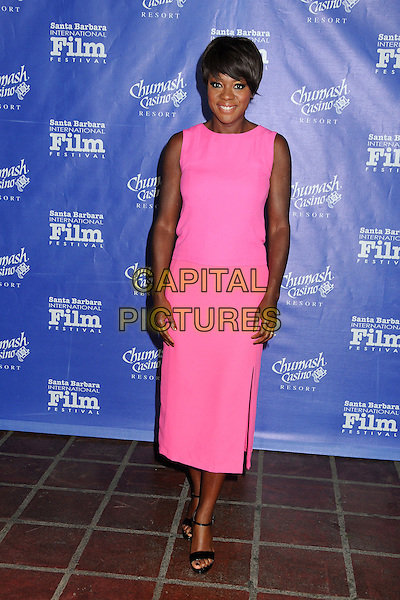Viola Davis.Attending the 27th Annual Santa Barbara Film Festival - Outstanding Performer of The Year Award Presented to Viola Davis held at the Arlington Theatre, Santa Barbara, California, USA, 27th January 2012.full length sleeveless pink mid length dress  black open toe sandals .CAP/ADM/BP.©Byron Purvis/AdMedia/Capital Pictures.