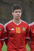 20150404 - FORST , GERMANY  : Belgian Isabelle Iliano pictured during the soccer match between Women Under 19 teams of Belgium and Ukraine , on the first matchday in group 5 of the UEFA Elite Round Women Under 19 at WaldseeStadion , Forst , Germany . Saturday 4th April 2015 . PHOTO DAVID CATRY