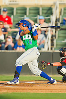 Michael Antonio (16) of the Lexington Legends follows through on his swing against the Kannapolis Intimidators at CMC-Northeast Stadium on July 29, 2013 in Kannapolis, North Carolina.  The Intimidators defeated the Legends 10-5.  (Brian Westerholt/Four Seam Images)
