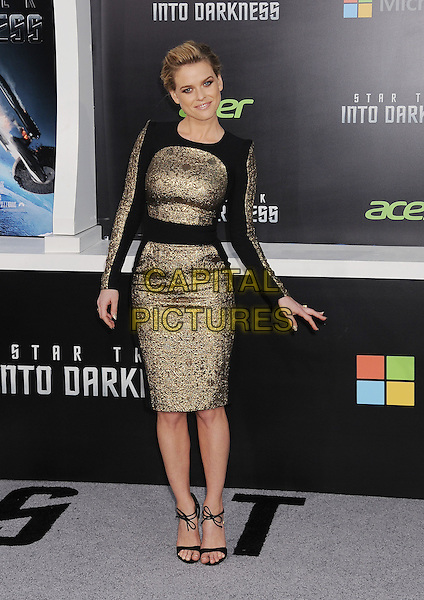 "Alice Eve.""Star Trek Into Darkness"" Los Angeles Premiere held at the Dolby Theatre, Hollywood, California, USA..May 14th, 2013.full length dress black gold   .CAP/ROT/TM.©Tony Michaels/Roth Stock/Capital Pictures"