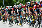 The peleton led by Team Sky in action during Stage 4 of the 2018 Criterium du Dauphine 2018 running 181km from Chazey sur Ain to Lans en Vercors, France. 7th June 2018.<br /> Picture: ASO/Alex Broadway | Cyclefile<br /> <br /> <br /> All photos usage must carry mandatory copyright credit (© Cyclefile | ASO/Alex Broadway)