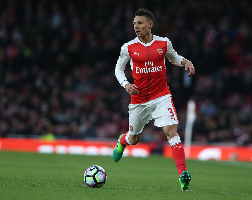 Arsenal's Kieran Gibbs<br /> <br /> Photographer Stephen White/CameraSport<br /> <br /> The Premier League - Arsenal v Leicester City - Wednesday 26th April 2017 - Emirates Stadium - London<br /> <br /> World Copyright &copy; 2017 CameraSport. All rights reserved. 43 Linden Ave. Countesthorpe. Leicester. England. LE8 5PG - Tel: +44 (0) 116 277 4147 - admin@camerasport.com - www.camerasport.com