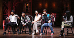 "Daniel Yearwood, Preston Mui, Lauren Boyd, Thayne Jasperson and Gabriella Sorrentino during the Q & A before The Rockefeller Foundation and The Gilder Lehrman Institute of American History sponsored High School student #eduHAM matinee performance of ""Hamilton"" at the Richard Rodgers Theatre on 3/12/2020 in New York City."