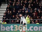 Northampton fans shout and the pictures of Wayne Rooney of Derby County during the FA Cup match at the Pride Park Stadium, Derby. Picture date: 4th February 2020. Picture credit should read: Darren Staples/Sportimage