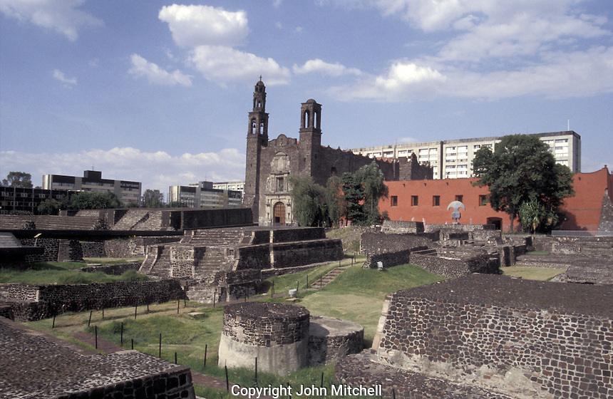 The Aztec ruins of Tlatelolco and the 17th century Templo de Santiago church in the Plaza de Las Tres Culturas, Mexico City