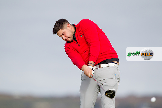Stefan Greenberg (UU) on the 2nd tee during round 2 of the Irish Intervarsity Championship, Lahinch Golf Club, Clare, Ireland.  20/10/2016<br /> Picture: Golffile | Fran Caffrey<br /> <br /> <br /> All photo usage must carry mandatory copyright credit (&copy; Golffile | Fran Caffrey)
