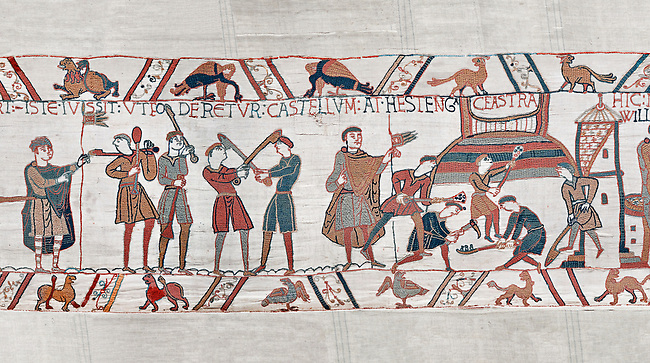 Bayeux Tapestry scene 45:  Norman soldiers train and built a fortified camp. BYX45