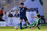 Shibasaki Gaku of Japan (L) is challenged by Hojayev Resul of Turkmenistan during the AFC Asian Cup UAE 2019 Group F match between Japan (JPN) and Turkmenistan (TKM) at Al Nahyan Stadium on 09 January 2019 in Abu Dhabi, United Arab Emirates. Photo by Marcio Rodrigo Machado / Power Sport Images