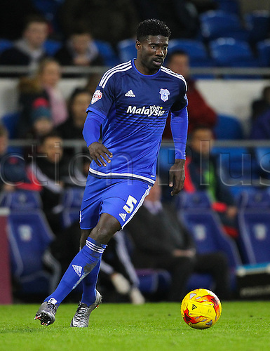29.12.2015. Cardiff City Stadium, Cardiff, Wales. Skybet Championship. Cardiff versus Nottingham Forest. Cardiff City's Bruno Ecuele Manga in action during the match