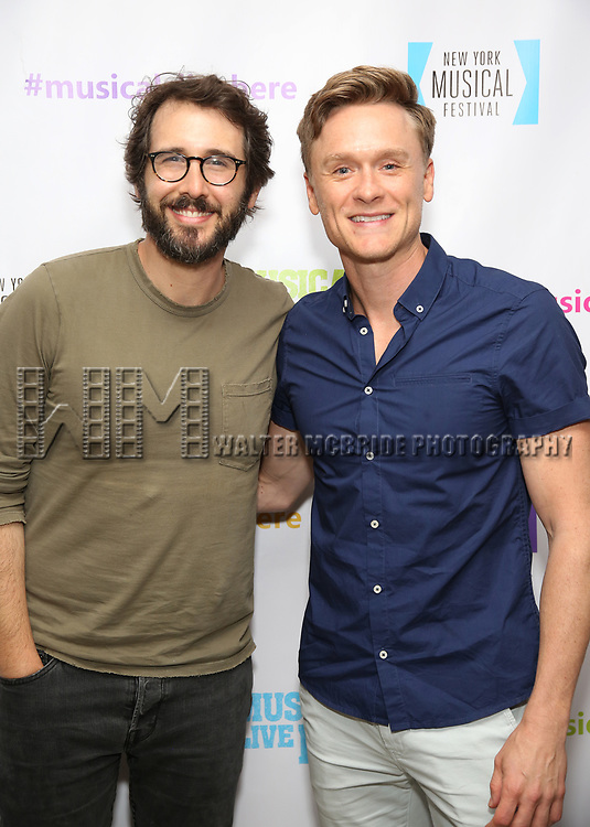 "Josh Groban and Josh Canfield backstage at the New York Musical Festival production of  ""Alive! The Zombie Musical"" at the Alice Griffin Jewel Box Theatre on July 29, 2019 in New York City."