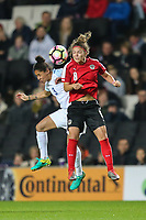 Demi Stokes (Manchester City) of England Women and Nadine Prohaska (FSK St. Polten-Spratzern) of Austria Women in an aerial battle during the Women's Friendly match between England Women and Austria Women at stadium:mk, Milton Keynes, England on 10 April 2017. Photo by PRiME Media Images / David Horn.