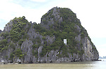 Halong-Vietnam, Ha Long - Viet Nam - 22 July 2005---Dau Go island with UNESCO-plate at Halong Bay, a UNESCO World Natural Heritage Site---tourism, landscape, nature---Photo: Horst Wagner/eup-images