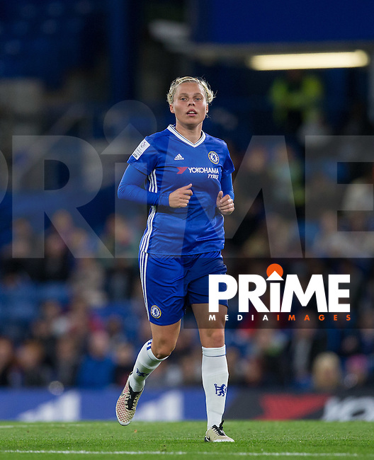 Gilly Flaherty of Chelsea Ladies during the UEFA Women's Champions League match between Chelsea Ladies and VfL Wolfsburg at Stamford Bridge, London, England on 5 October 2016. Photo by Andy Rowland.