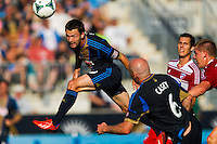 Jack McInerney (9) of the Philadelphia Union attempts to head the ball. The Philadelphia Union and FC Dallas played to a 2-2 tie during a Major League Soccer (MLS) match at PPL Park in Chester, PA, on June 29, 2013.